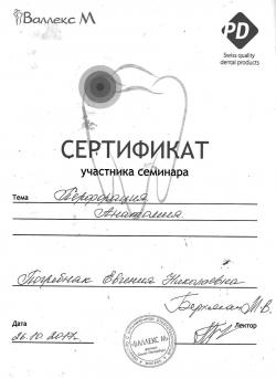 Погребняк Евгения Николаевна - Сертификат